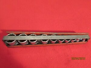 Snap on Vintage Set Of 10 12 Point Sockets 3 8 drive In K1a232b Red Caddy