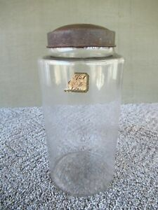 Antique Apothecary Jar Mold Blown Glass Partial Label 9 3 4 Tall Tin