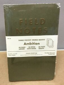 Field Notes ambition Ledge date Book graph Limited Edition Sealed 3 pack Memos