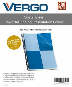 Vergo 200 Pack Binding Presentation Covers Univeral Letter Size Crystal Clear
