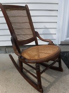 Antq Caned Walnut Sewing Rocker Rocking Chair Petite Chair For Nursing Or Child