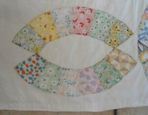 Vintage 40s Cotton Patchwork Quilt Feedsack Fabrics Full Pink Coverlet