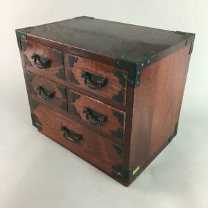 Japanese Wooden Lacquered Sewing Box Vtg Haribako Chest Tansu 5 Drawers T164