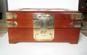 Exceptional Chinese Miniature Chest Jewelry Box Fine Cherry Wood