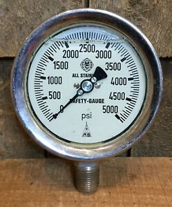 Vintage W Germany Mcdaniel 5000 Psi Pressure Gauge Industrial Steam Punk 4