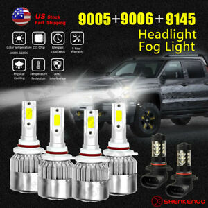 for Chevy Silverado 1500 2500 Hd 2000 2006 Headlight Fog Bulbs Led High Low