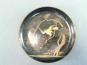 Japanese Lacquer Ware Plate Pine Tree Makie Gold Hawk Vtg Wooden Nurimono Lp2