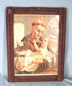Antique 19th Century Victorian Tramp Art Chip Carved Picture Mirror Frame