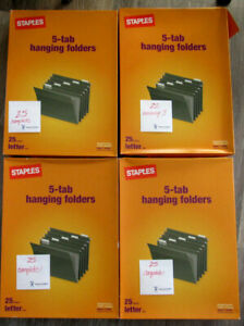 97 Staples 5 tab Green Recycled Hanging Folders Letter Size 116764