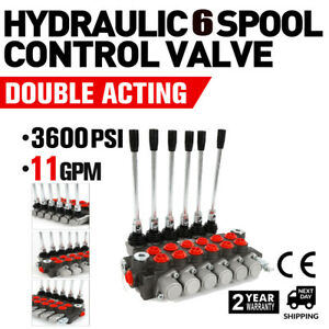 6 Spool Hydraulic Directional Control Valve 11gpm 6p40 Double Acting Cylinder