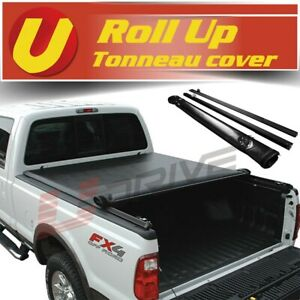Fits 2007 2013 Chevy Silverado 5 8 Bed Vinyl Black Soft Roll Up Tonneau Cover