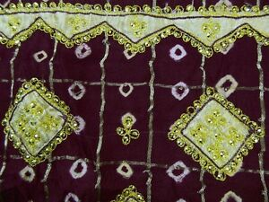 Vintage Art Silk Saree Bandhani Printed Fabric Beaded Indian Craft Women Saree