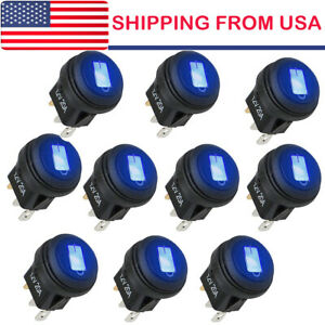 10 Rocker Switches 12v Round Toggle On off 20a Car Snap In Switch Blue Led