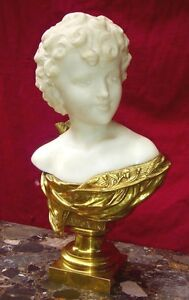 Amazing Bust Love In Carrara Marble And Gilded Bronze Signed Febrari Rare