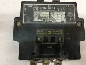 Used Square D Size 4 3pole 120vac Coil 100amp 600vac Contactor 8502 sf02