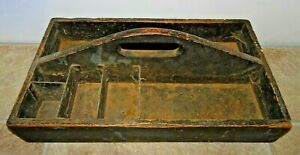 Old Antique 18 Wooden Carpenters Tool Box Primitive Garden Tote Caddy Patina
