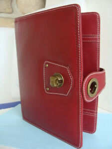 Classic Size dark red Leather franklin Covey Wire Bound Compass Planner Cover