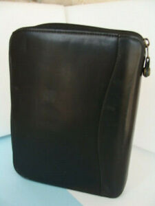 Franklin Covey classic Black Genuine Leather Planner Binder 7 rings zip Good