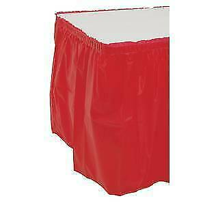 Disposable Plastic Table Skirting Box Pleat Red 29 h X 13 l 12733