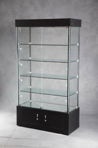 Lighted Tower Display Case In Black 40 Inch W X 18 Inch D X 72 3 4 Inch H
