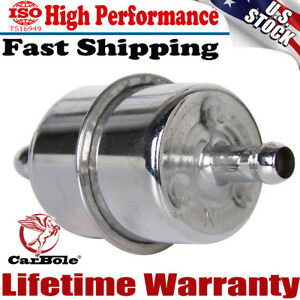 New Chrome Plated Fuel Filter For 3 8 Id Hose Inline Car Auto Parts Fuel System