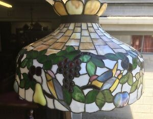 Victorian Stained Leaded Glass Bird Chandelier
