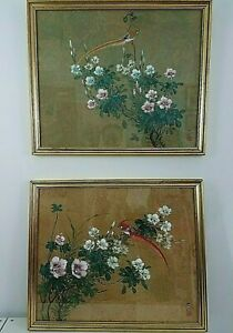 Antique Chinese Gouache Painting Set Bird Floral Cork Paper Signed Framed Large