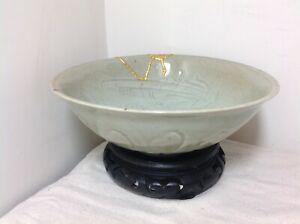 Chinese Porcelain Qingbai Celadon Glaze Incised Bowl Song Ming Dynasty