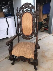 English Edwardian Victorian Wood Carved Scroll Throne Chair Circa 1700 1830 1850
