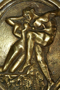 Vintage Solid Brass Wall Plaque Tray Nude Naked Couple Man Woman