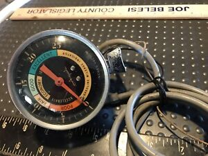 Vintage Airguide Pedestal Vacuum Gauge 1950s 1960s Color Dial Curved Glass Lens