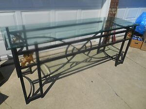 Vintage Art Deco Egyptian Revival Grand Entry Xl Console Table Plate Glass Top