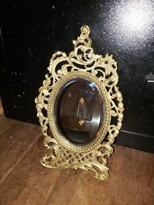 Vintage Victorian Antique Beveled Oval Desk Table Vanity Brass Mirror