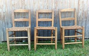 Set Of 3 Vintage Oak Ladder Back Chairs W Woven Cane Reed Bottom Seat