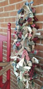 Set Of 3 6 Foot Rag Garland Fabric Country Primitive Farmhouse Cottage Fall New