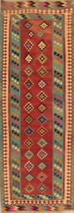 Antique Geometric Kilim Qashqai Persian Oriental Hand Knotted 3x9 Runner Rug