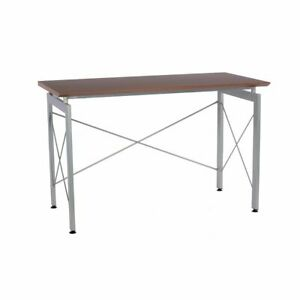 Modern Design Office Desk Workstation W Metal Frame Mahogany Finish Wood Top