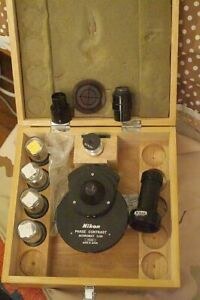 Nikon Microscope Phase Contrast Kit barely Used 4 Objectives Condenser