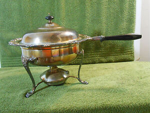 5 Piece Vintage Silverplate Chafing Dish Warming Tray Oil Burner Wooden Handles
