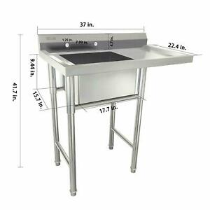 Commercial Utility Stainless Steel Sink Silver 37 L X 22 44 w X 40 h Versatile