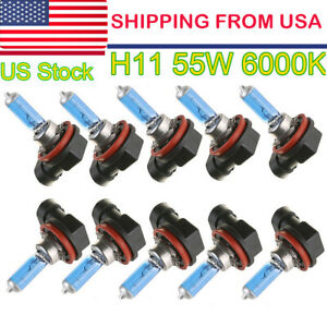 10 X H11 55w Halogen Light White Car Headlight Bulbs Bulb Lamp 12v 6000k Us Hot