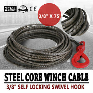 3 8 X 75 Steel Core Winch Cable Self Locking Swivel Hook Tow Rope Truck