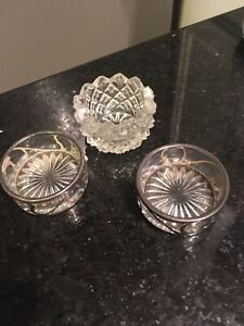 Antique Webster Sterling Crystal Salt Cellars Set Of 2 And 1 Cut Crystal