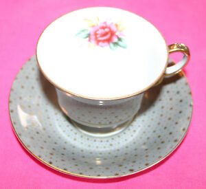 Royal Sealy Flowers Gold Stars Footed Made In Japan Bone China Cup