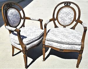 Pair Of Vtg French Provincial Louis Xv Hand Carved Wood Bergere Armchairs