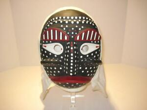 Japanese Carved Wood Noh Kabuki Black White Red Mask Hand Painted