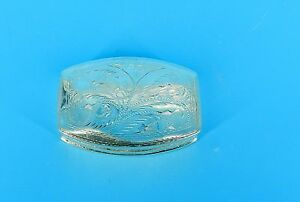 Vtg Sterling Silver Full Hand Chased Floral Hinged Trinket Box 2 75 X 2 Rare