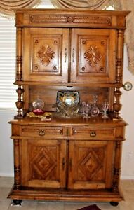 Antique French Plantation Country Buffet Close Press Sideboard Cabinet Carved