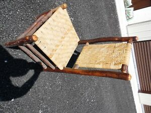 Vintage Old Hickory Cane Seat Made Putnamville Indiana Prison Stick Furniture