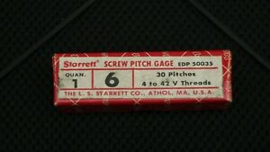 Starrett No 6 Machinist Thread Pitch Gage 30 Pitches 4 42 V Threads Usa